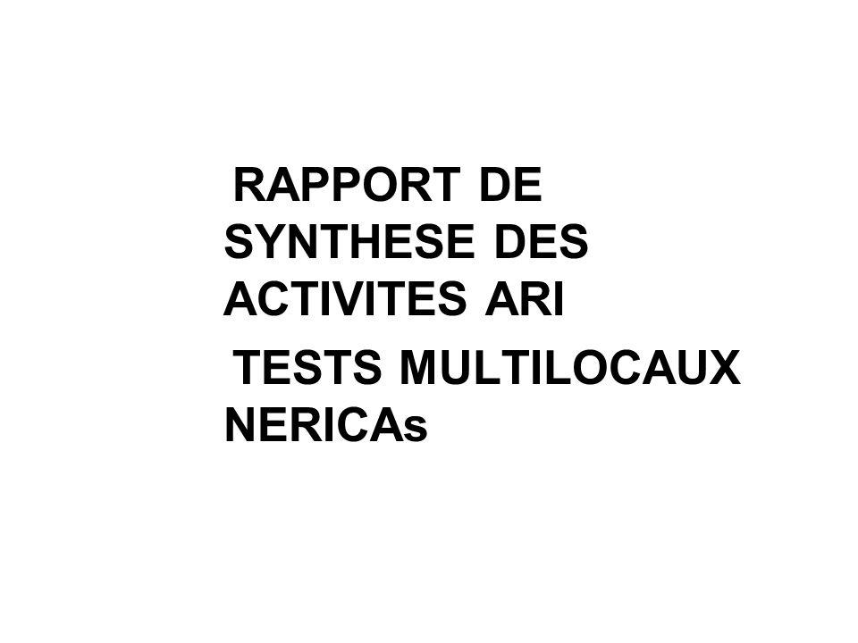RAPPORT DE SYNTHESE DES ACTIVITES ARI TESTS MULTILOCAUX NERICAs