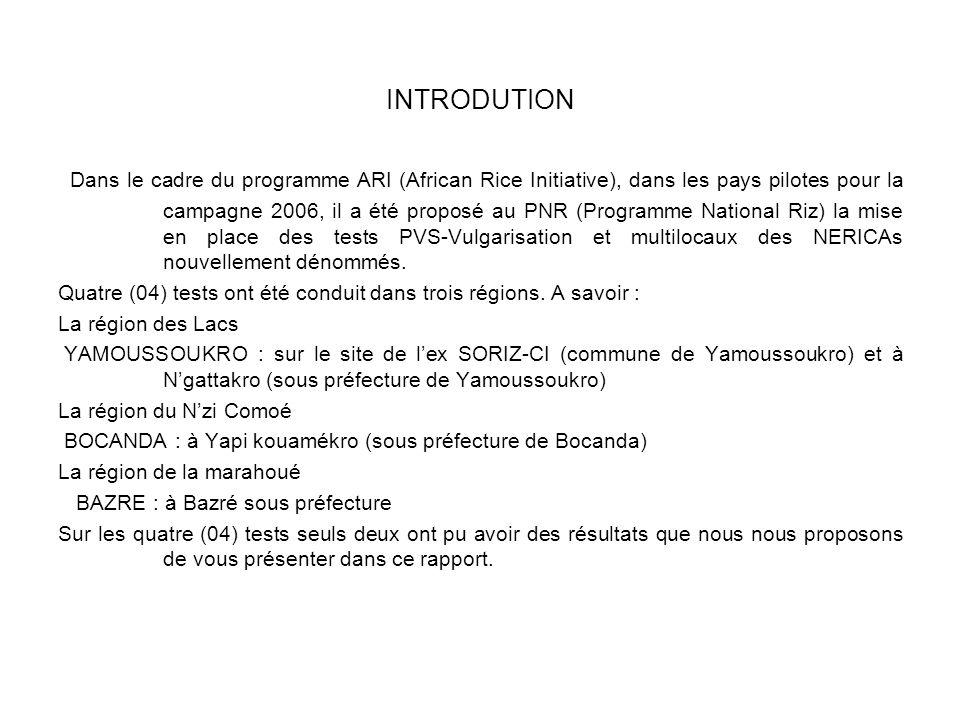 INTRODUTION Dans le cadre du programme ARI (African Rice Initiative), dans les pays pilotes pour la campagne 2006, il a été proposé au PNR (Programme National Riz) la mise en place des tests PVS-Vulgarisation et multilocaux des NERICAs nouvellement dénommés.