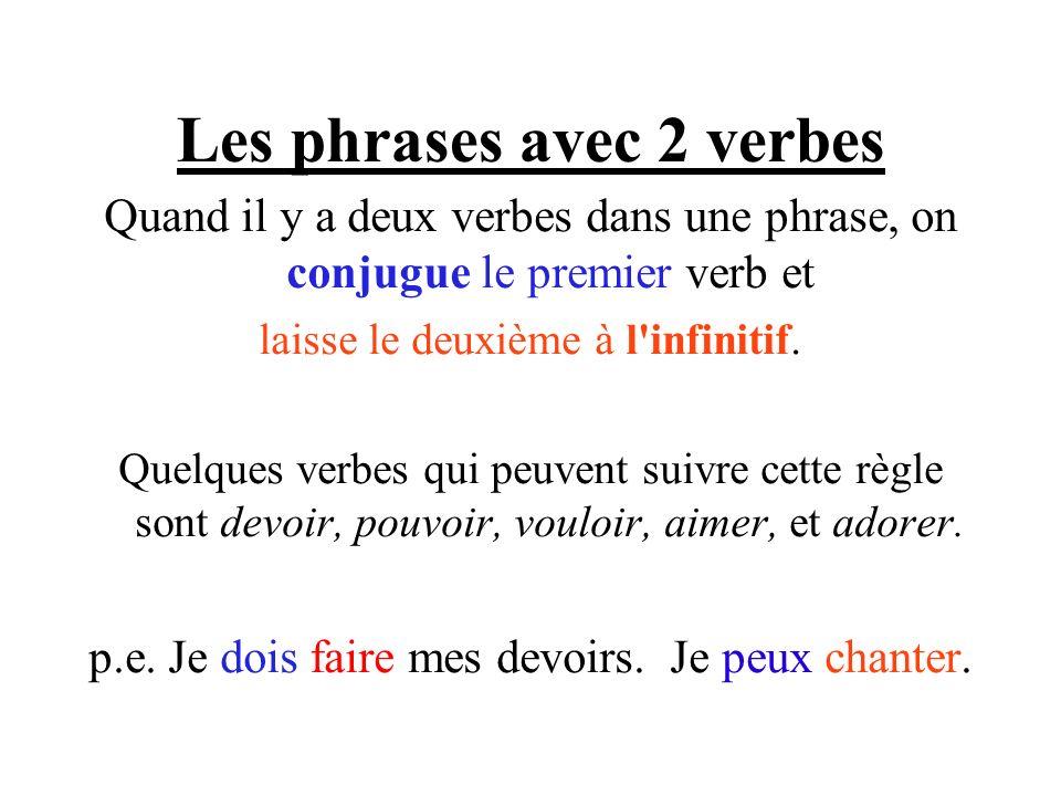 Les phrases avec 2 verbes Quand il y a deux verbes dans une phrase, on conjugue le premier verb et laisse le deuxième à l'infinitif. Quelques verbes q