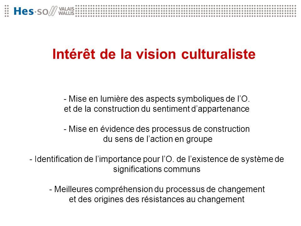 Intérêt de la vision culturaliste - Mise en lumière des aspects symboliques de lO. et de la construction du sentiment dappartenance - Mise en évidence