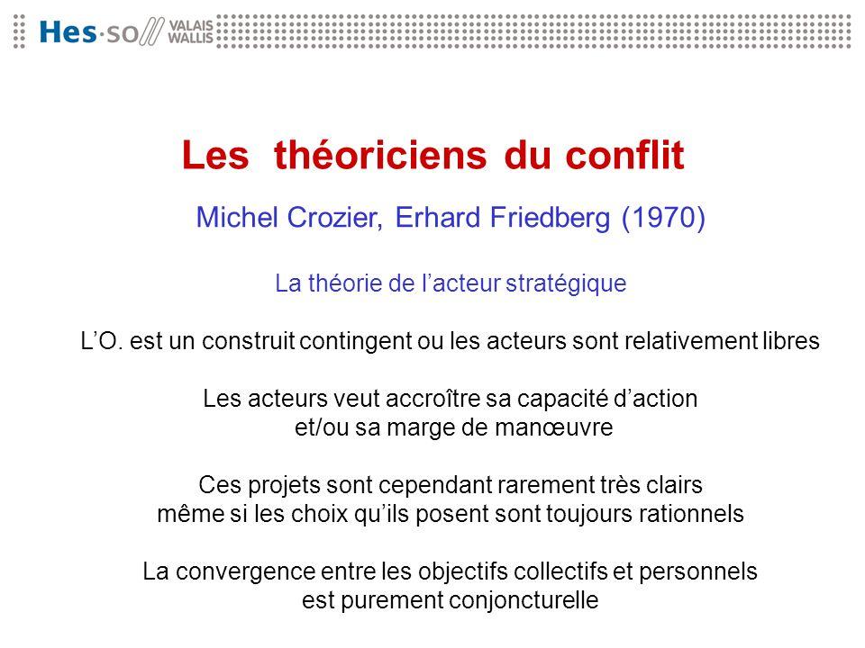 Les théoriciens du conflit Michel Crozier, Erhard Friedberg (1970) La théorie de lacteur stratégique LO. est un construit contingent ou les acteurs so