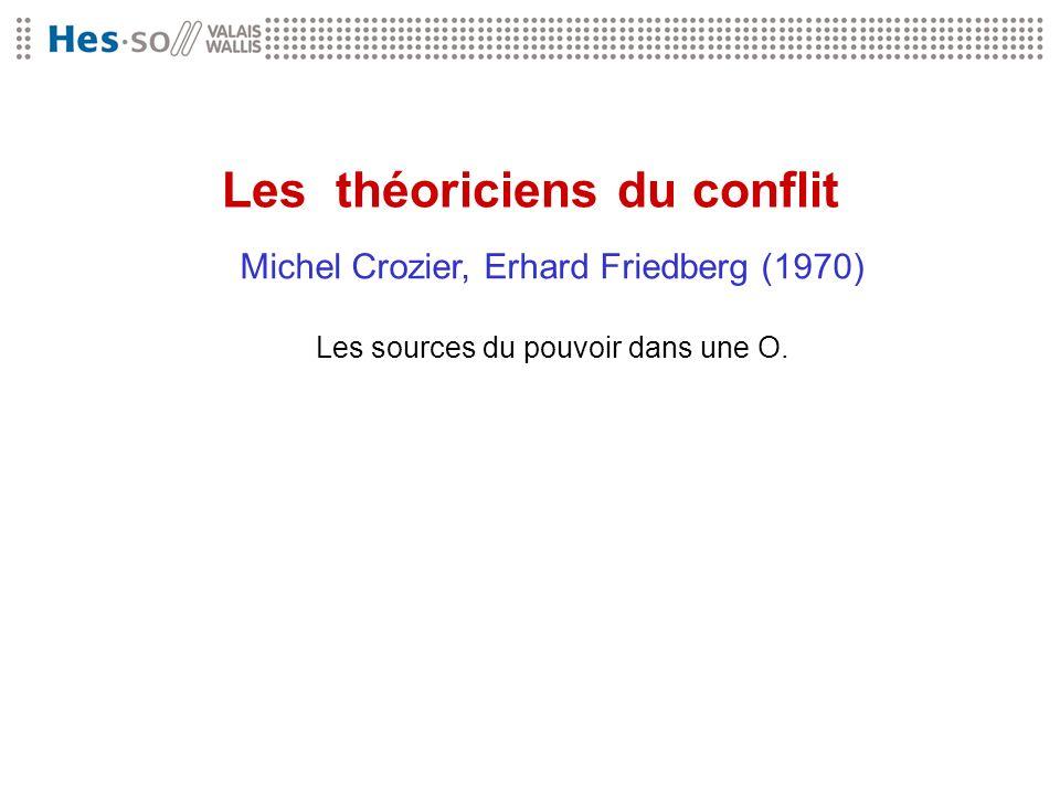 Les théoriciens du conflit Michel Crozier, Erhard Friedberg (1970) Les sources du pouvoir dans une O.