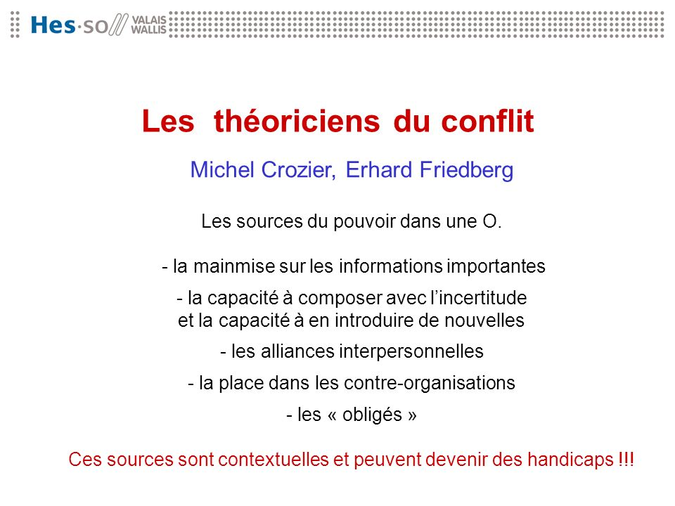 Les théoriciens du conflit Michel Crozier, Erhard Friedberg Les sources du pouvoir dans une O. - la mainmise sur les informations importantes - la cap
