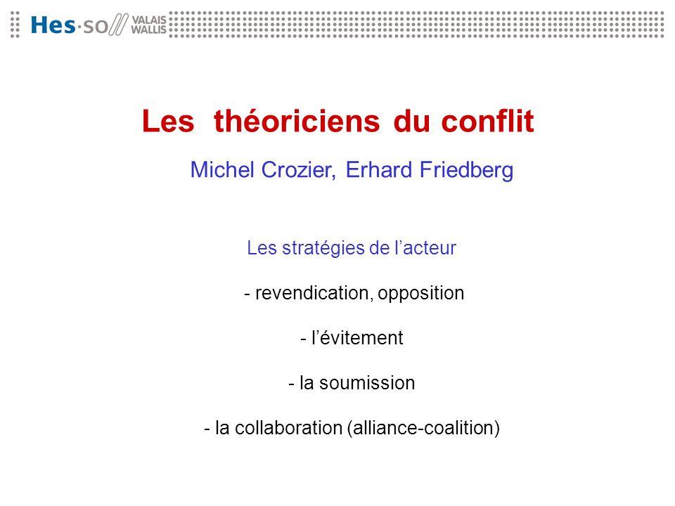 Les théoriciens du conflit Michel Crozier, Erhard Friedberg Les stratégies de lacteur - revendication, opposition - lévitement - la soumission - la co