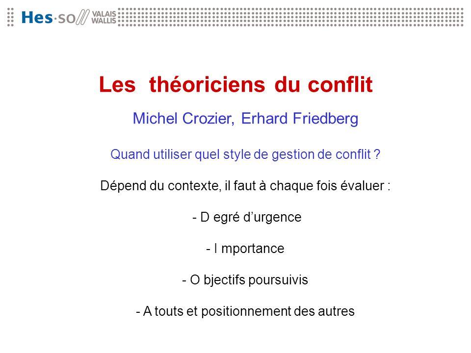 Les théoriciens du conflit Michel Crozier, Erhard Friedberg Quand utiliser quel style de gestion de conflit ? Dépend du contexte, il faut à chaque foi