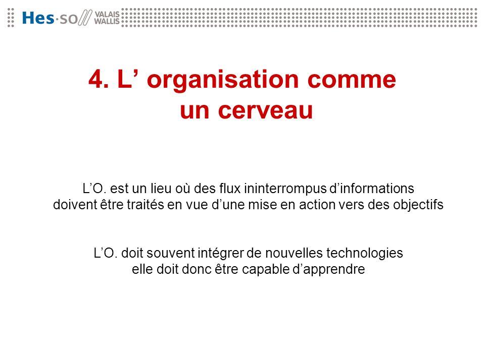 4. L organisation comme un cerveau LO. est un lieu où des flux ininterrompus dinformations doivent être traités en vue dune mise en action vers des ob