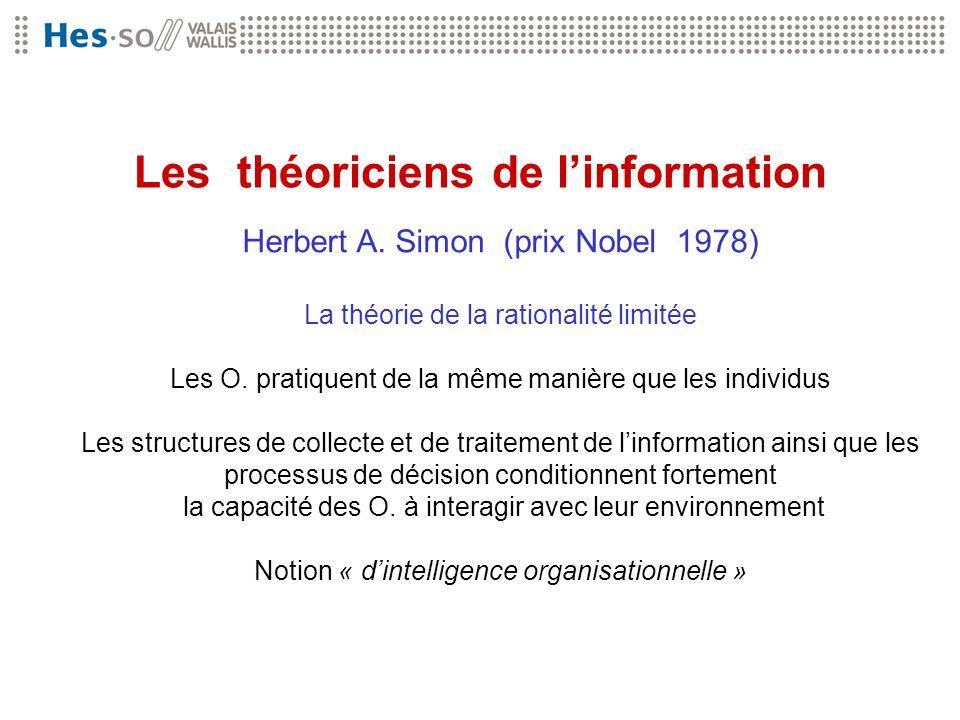 Les théoriciens de linformation Herbert A. Simon (prix Nobel 1978) La théorie de la rationalité limitée Les O. pratiquent de la même manière que les i