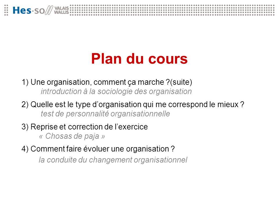 Plan du cours 1) Une organisation, comment ça marche ?(suite) introduction à la sociologie des organisation 2) Quelle est le type dorganisation qui me