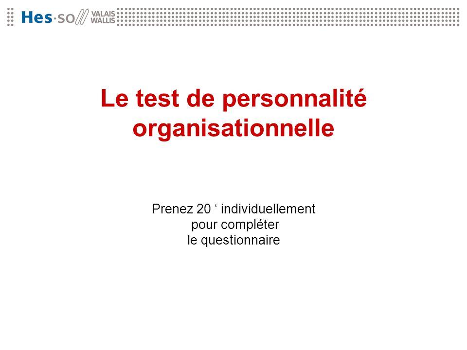 Le test de personnalité organisationnelle Prenez 20 individuellement pour compléter le questionnaire