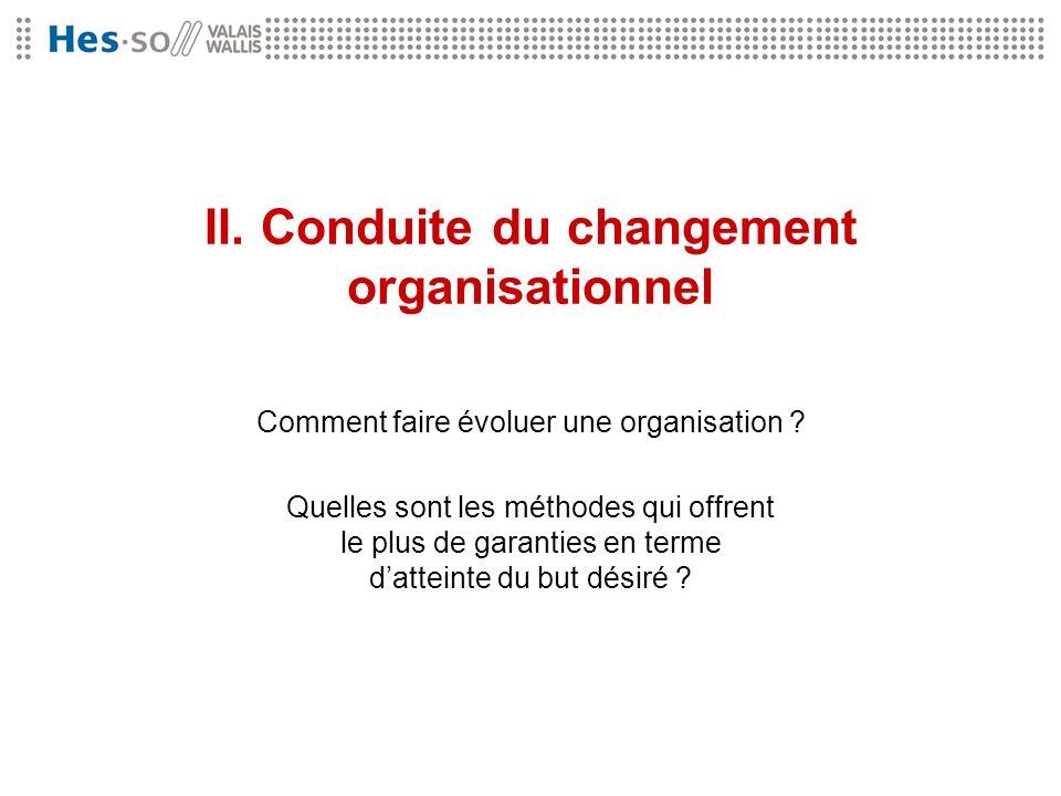 II. Conduite du changement organisationnel Comment faire évoluer une organisation ? Quelles sont les méthodes qui offrent le plus de garanties en term