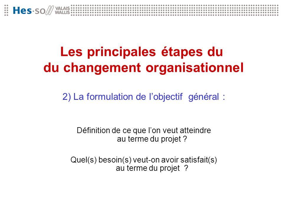 Les principales étapes du du changement organisationnel 2) La formulation de lobjectif général : Définition de ce que lon veut atteindre au terme du p