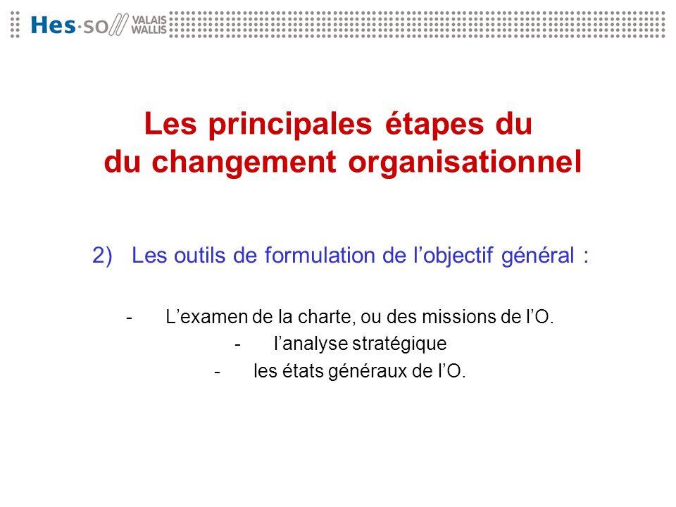 Les principales étapes du du changement organisationnel 2)Les outils de formulation de lobjectif général : -Lexamen de la charte, ou des missions de l