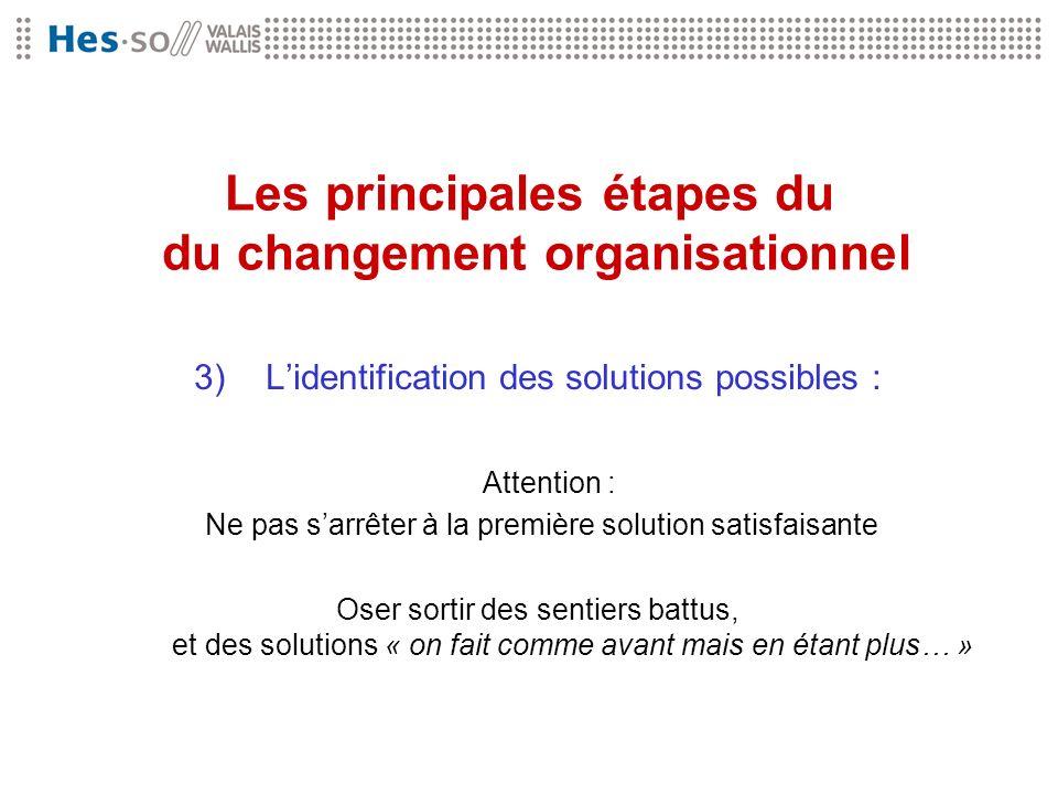 Les principales étapes du du changement organisationnel 3) Lidentification des solutions possibles : Attention : Ne pas sarrêter à la première solutio