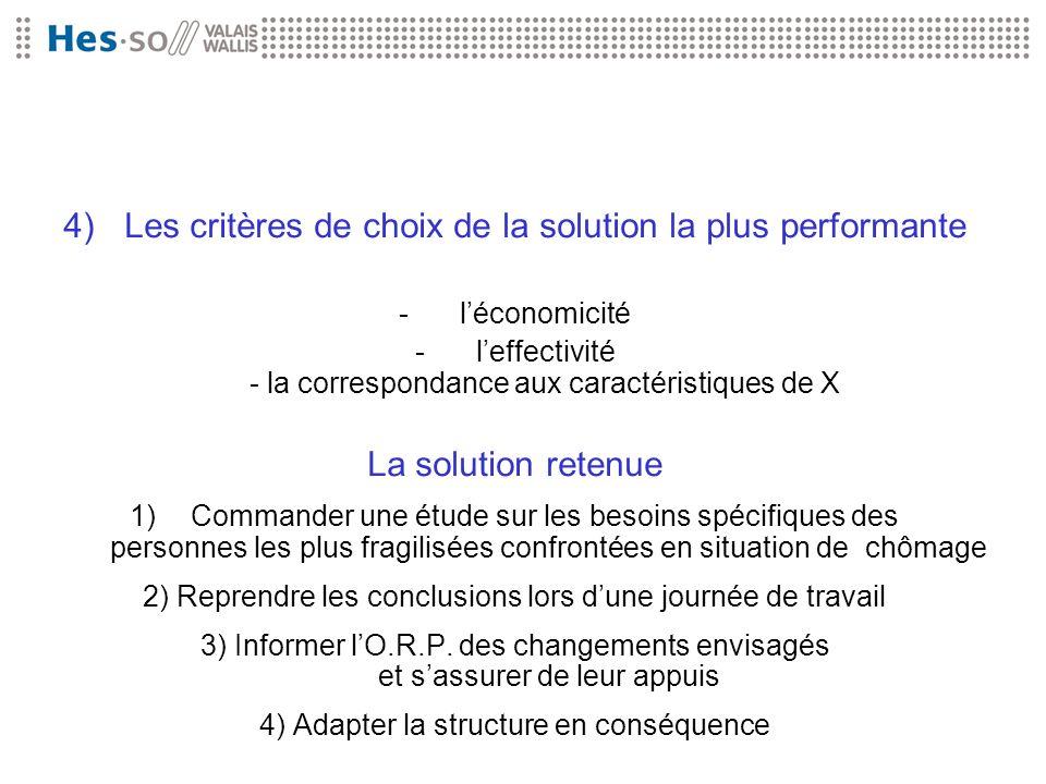 4)Les critères de choix de la solution la plus performante -léconomicité -leffectivité - la correspondance aux caractéristiques de X La solution reten