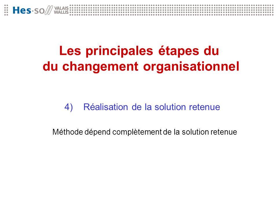 Les principales étapes du du changement organisationnel 4) Réalisation de la solution retenue Méthode dépend complètement de la solution retenue