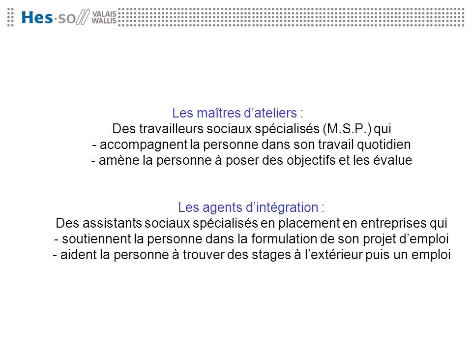 Les maîtres dateliers : Des travailleurs sociaux spécialisés (M.S.P.) qui - accompagnent la personne dans son travail quotidien - amène la personne à