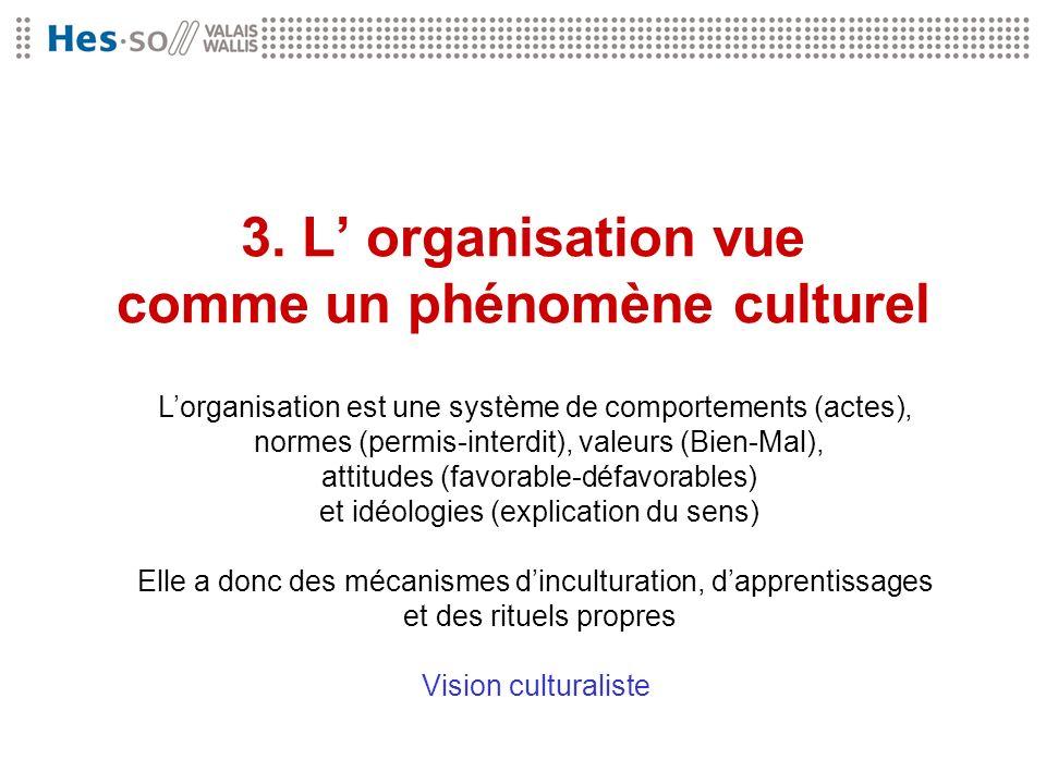 3. L organisation vue comme un phénomène culturel Lorganisation est une système de comportements (actes), normes (permis-interdit), valeurs (Bien-Mal)