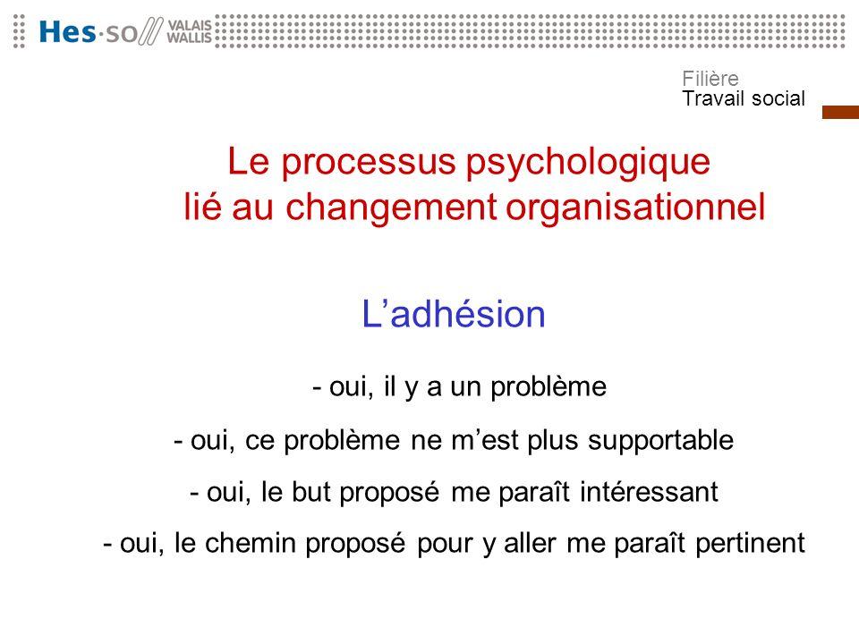 Filière Travail social Le processus psychologique lié au changement organisationnel Ladhésion - oui, il y a un problème - oui, ce problème ne mest plu
