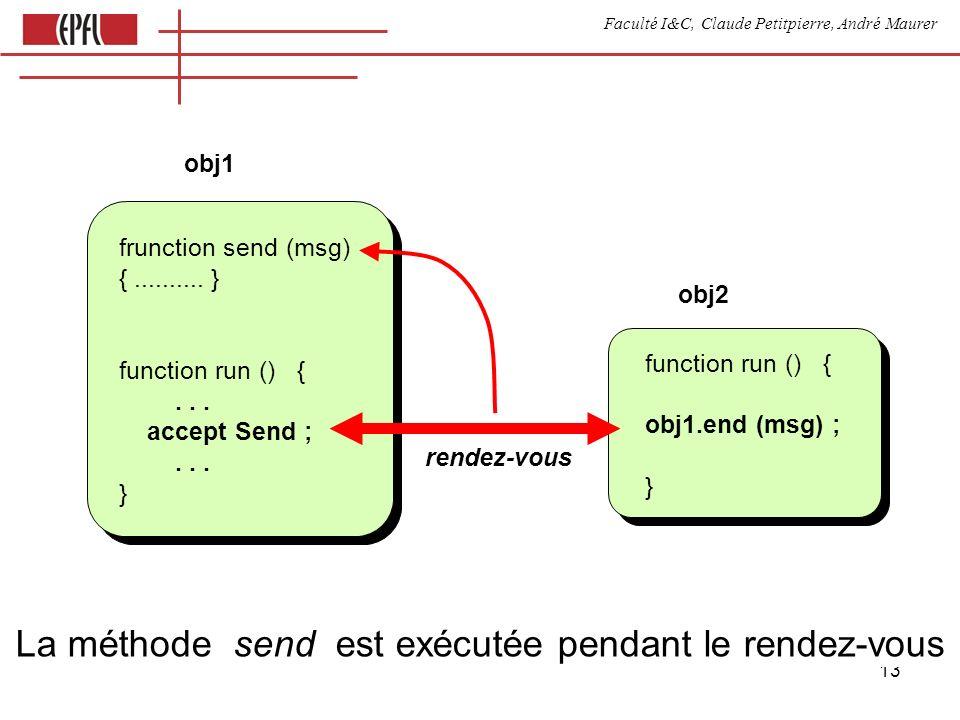 Faculté I&C, Claude Petitpierre, André Maurer 13 La méthode send est exécutée pendant le rendez-vous frunction send (msg) {..........