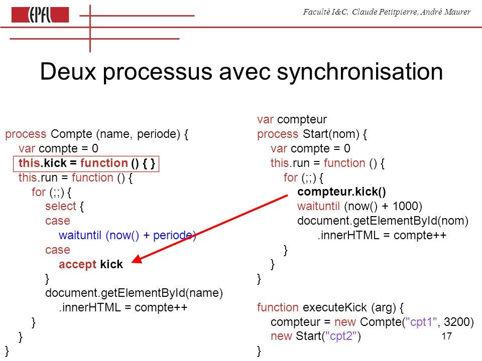 Faculté I&C, Claude Petitpierre, André Maurer 17 Deux processus avec synchronisation process Compte (name, periode) { var compte = 0 this.kick = funct