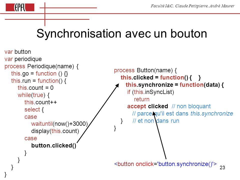 Faculté I&C, Claude Petitpierre, André Maurer 23 Synchronisation avec un bouton var button var periodique process Periodique(name) { this.go = functio