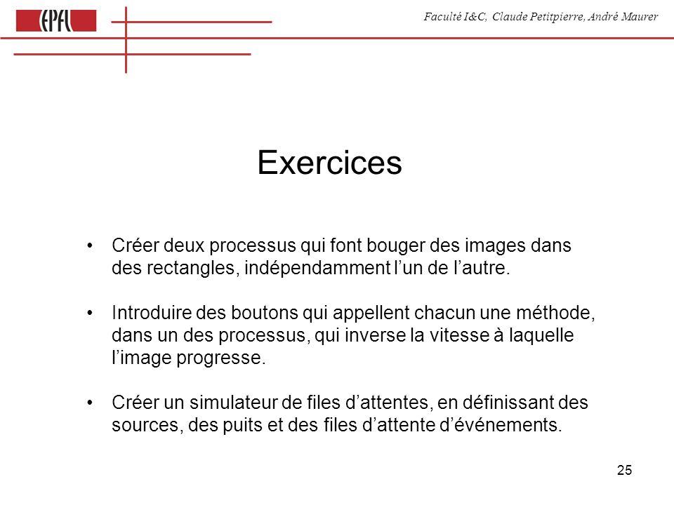 Faculté I&C, Claude Petitpierre, André Maurer 25 Exercices Créer deux processus qui font bouger des images dans des rectangles, indépendamment lun de lautre.