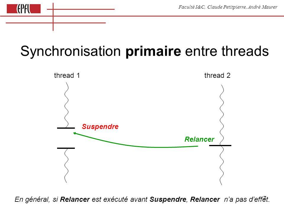 Faculté I&C, Claude Petitpierre, André Maurer 8 Synchronisation avec mémorisation thread 1 thread 2 n incNWait () { if (n<=0) suspendre n-- } decNResume () { n++ relancer } n mémorise les signaux envoyés par le relanceur.