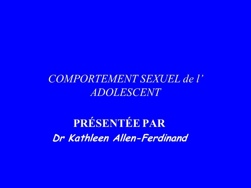 COMPORTEMENT SEXUEL de l ADOLESCENT PRÉSENTÉE PAR Dr Kathleen Allen-Ferdinand