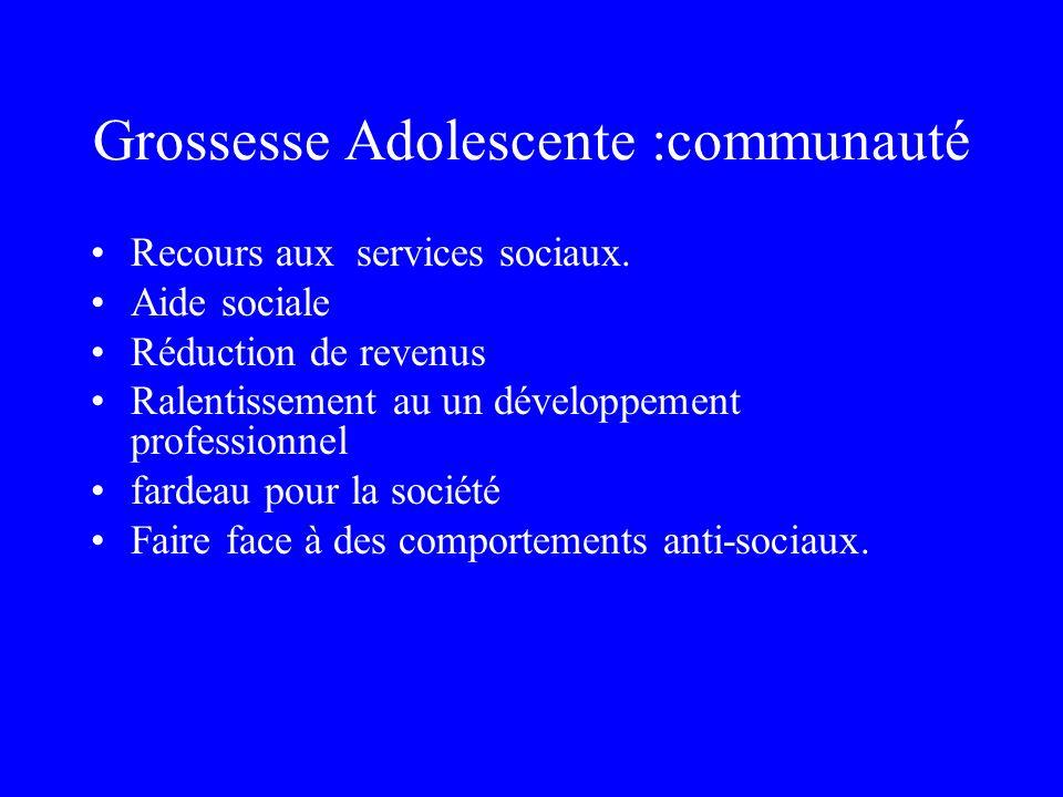 Grossesse Adolescente :communauté Recours aux services sociaux. Aide sociale Réduction de revenus Ralentissement au un développement professionnel far
