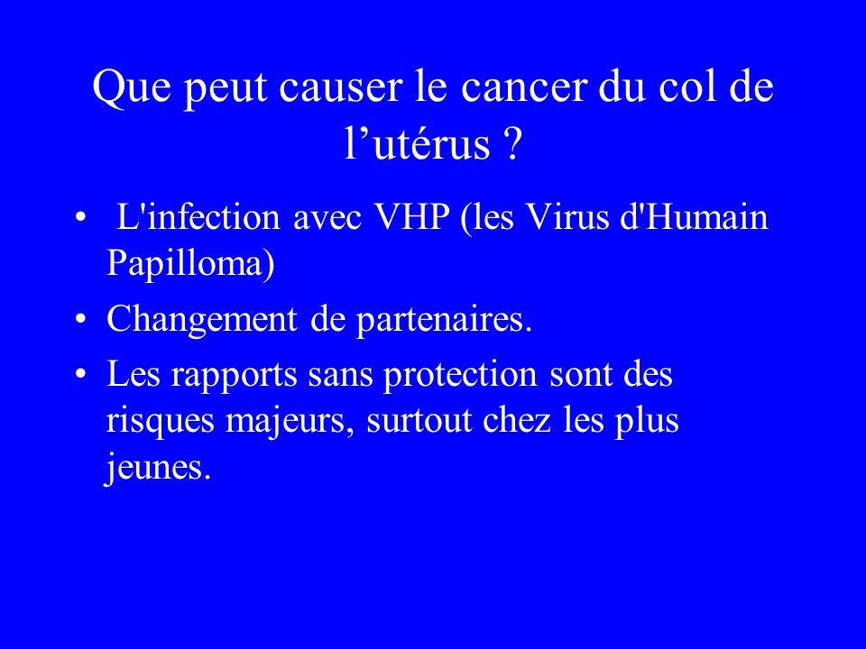 Que peut causer le cancer du col de lutérus ? L'infection avec VHP (les Virus d'Humain Papilloma) Changement de partenaires. Les rapports sans protect