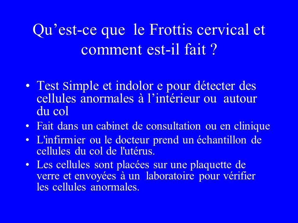 Quest-ce que le Frottis cervical et comment est-il fait ? Test S imple et indolor e pour détecter des cellules anormales à lintérieur ou autour du col