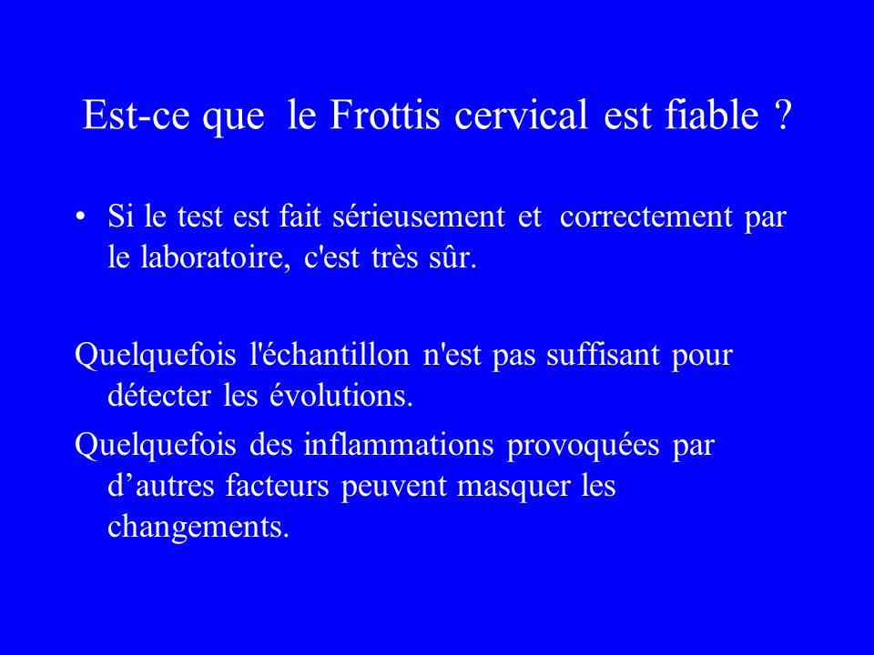 Est-ce que le Frottis cervical est fiable ? Si le test est fait sérieusement et correctement par le laboratoire, c'est très sûr. Quelquefois l'échanti