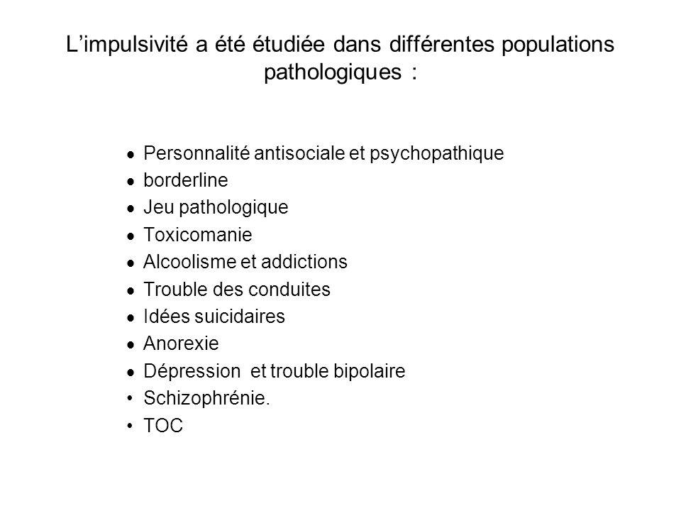 Limpulsivité a été étudiée dans différentes populations pathologiques : Personnalité antisociale et psychopathique borderline Jeu pathologique Toxicomanie Alcoolisme et addictions Trouble des conduites Idées suicidaires Anorexie Dépression et trouble bipolaire Schizophrénie.