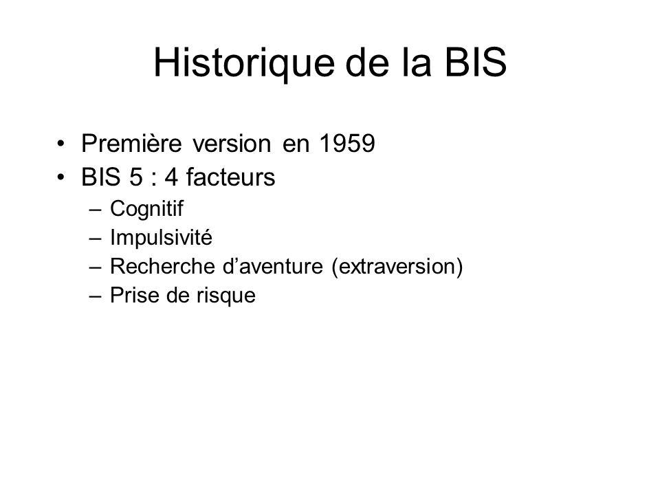 Historique de la BIS Première version en 1959 BIS 5 : 4 facteurs –Cognitif –Impulsivité –Recherche daventure (extraversion) –Prise de risque