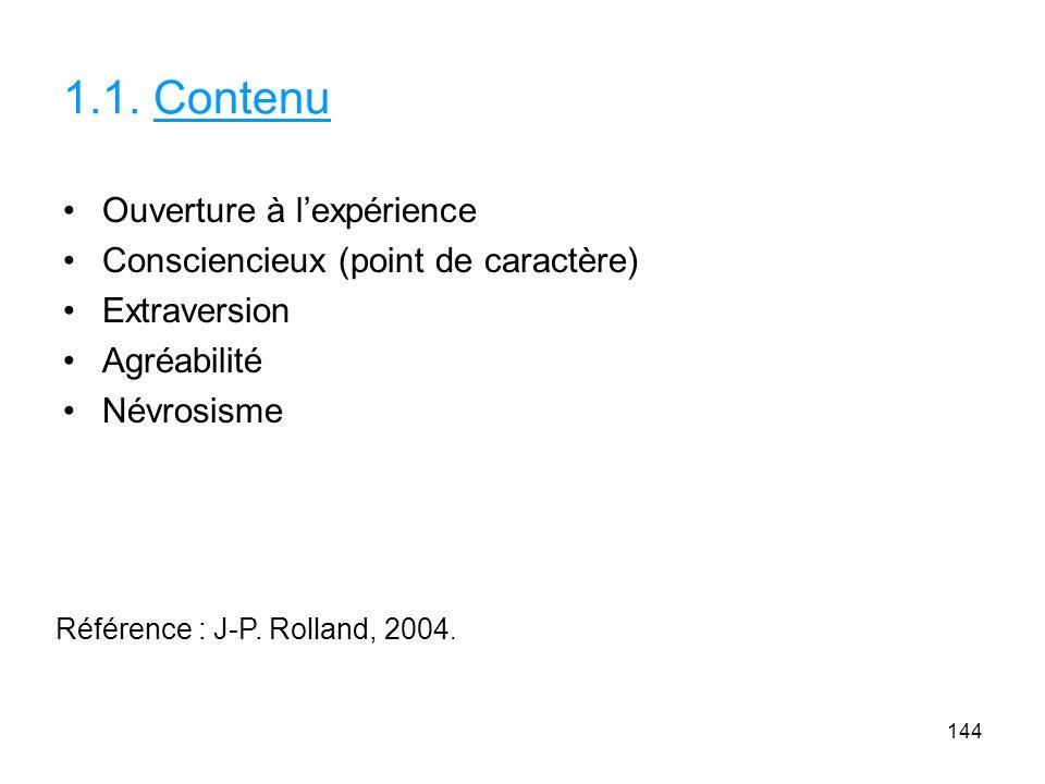 1.1. Contenu Ouverture à lexpérience Consciencieux (point de caractère) Extraversion Agréabilité Névrosisme 144 Référence : J-P. Rolland, 2004.