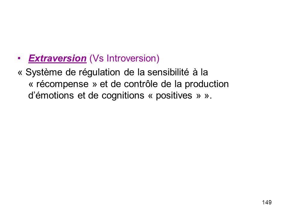 Extraversion (Vs Introversion) « Système de régulation de la sensibilité à la « récompense » et de contrôle de la production démotions et de cognitions « positives » ».