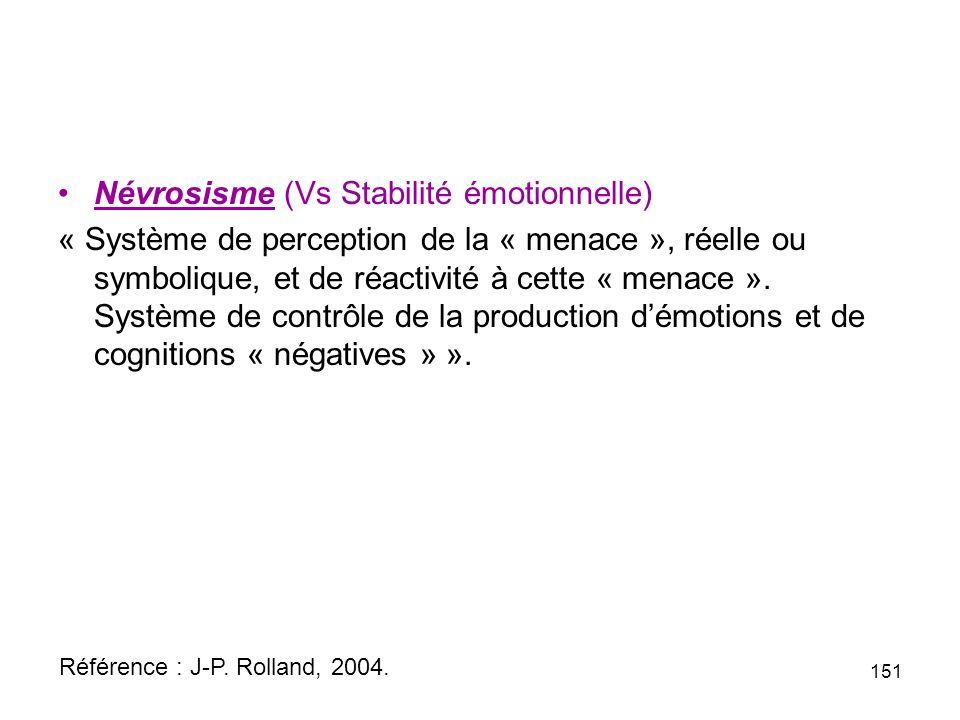 Névrosisme (Vs Stabilité émotionnelle) « Système de perception de la « menace », réelle ou symbolique, et de réactivité à cette « menace ».