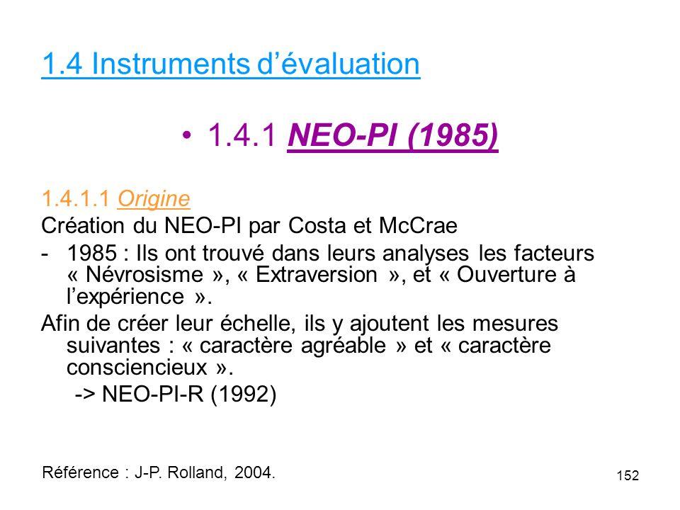 1.4 Instruments dévaluation 1.4.1 NEO-PI (1985) 1.4.1.1 Origine Création du NEO-PI par Costa et McCrae -1985 : Ils ont trouvé dans leurs analyses les facteurs « Névrosisme », « Extraversion », et « Ouverture à lexpérience ».
