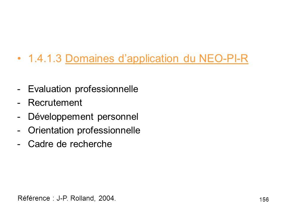 1.4.1.3 Domaines dapplication du NEO-PI-R -Evaluation professionnelle -Recrutement -Développement personnel -Orientation professionnelle -Cadre de recherche 156 Référence : J-P.