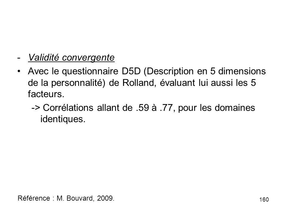 -Validité convergente Avec le questionnaire D5D (Description en 5 dimensions de la personnalité) de Rolland, évaluant lui aussi les 5 facteurs.