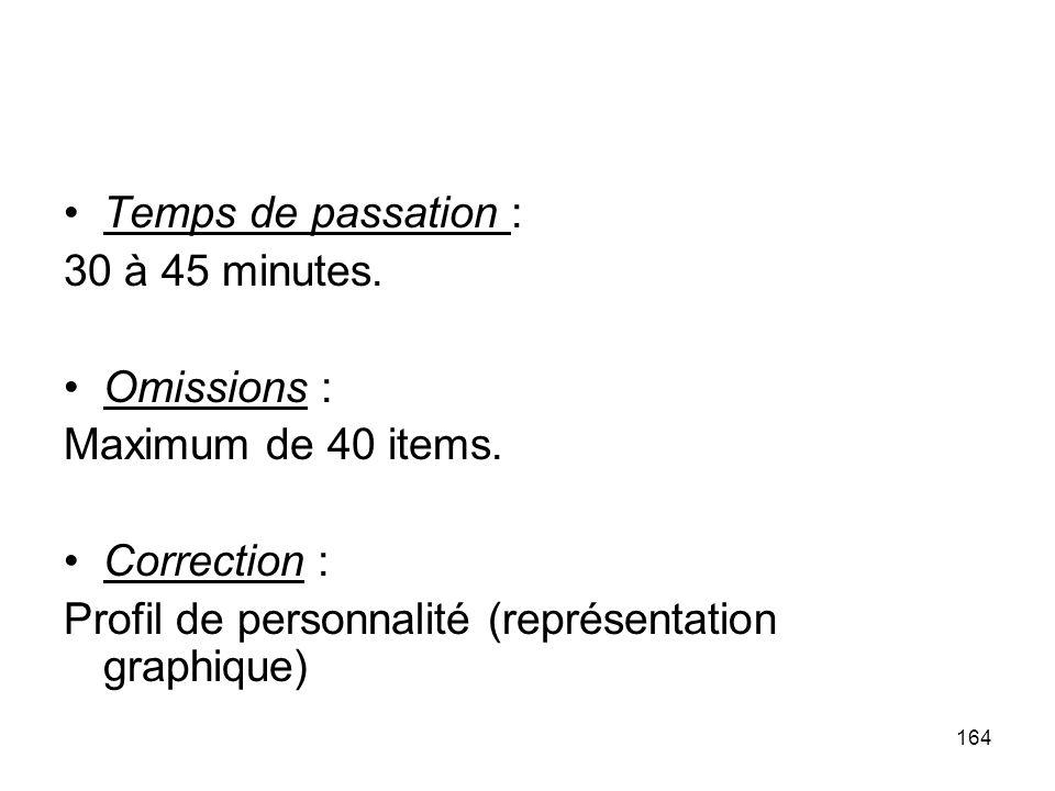 Temps de passation : 30 à 45 minutes.Omissions : Maximum de 40 items.