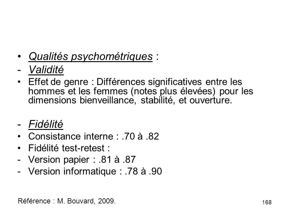 Qualités psychométriques : -Validité Effet de genre : Différences significatives entre les hommes et les femmes (notes plus élevées) pour les dimensions bienveillance, stabilité, et ouverture.