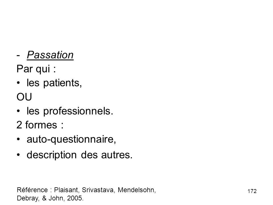 -Passation Par qui : les patients, OU les professionnels.
