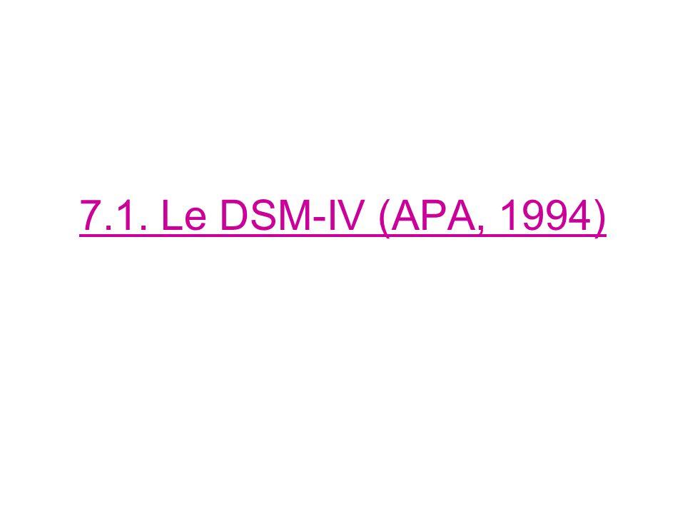 7.1. Le DSM-IV (APA, 1994)