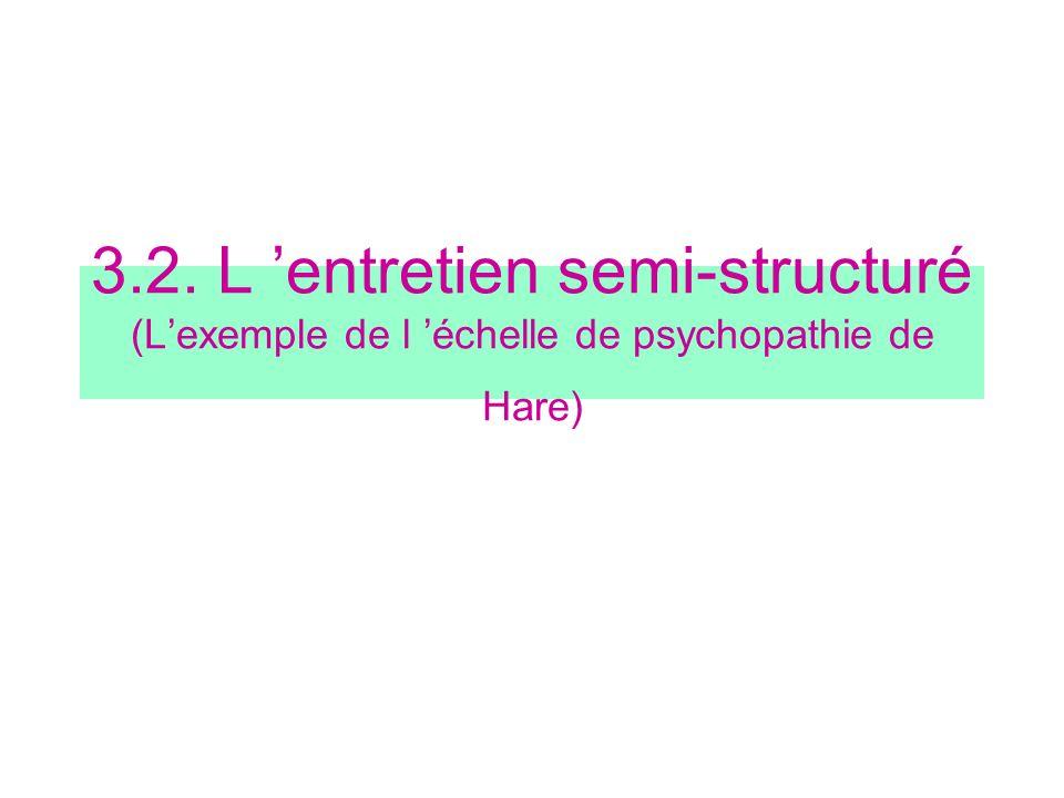 3.2. L entretien semi-structuré (Lexemple de l échelle de psychopathie de Hare)