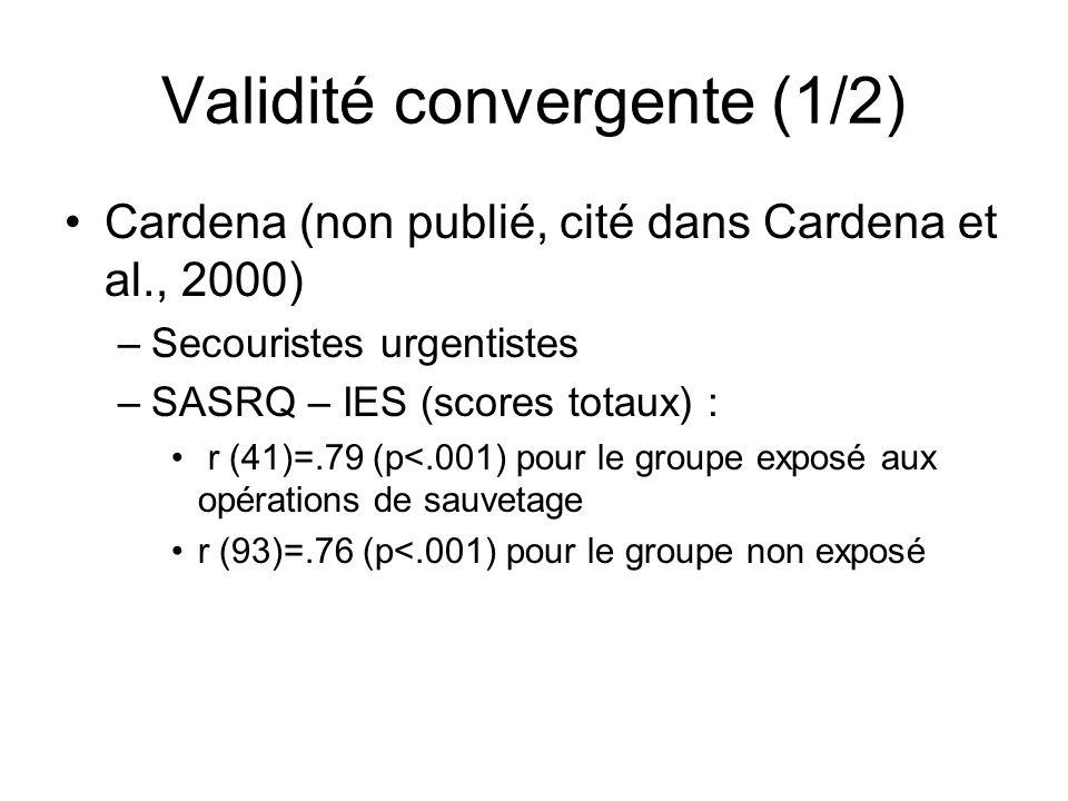 Validité convergente (1/2) Cardena (non publié, cité dans Cardena et al., 2000) –Secouristes urgentistes –SASRQ – IES (scores totaux) : r (41)=.79 (p<.001) pour le groupe exposé aux opérations de sauvetage r (93)=.76 (p<.001) pour le groupe non exposé