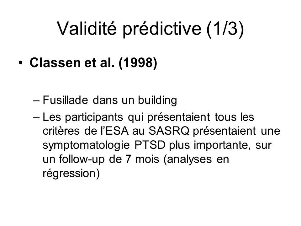 Validité prédictive (1/3) Classen et al.