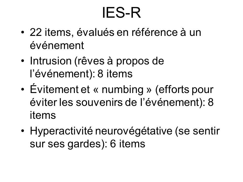 IES-R 22 items, évalués en référence à un événement Intrusion (rêves à propos de lévénement): 8 items Évitement et « numbing » (efforts pour éviter les souvenirs de lévénement): 8 items Hyperactivité neurovégétative (se sentir sur ses gardes): 6 items