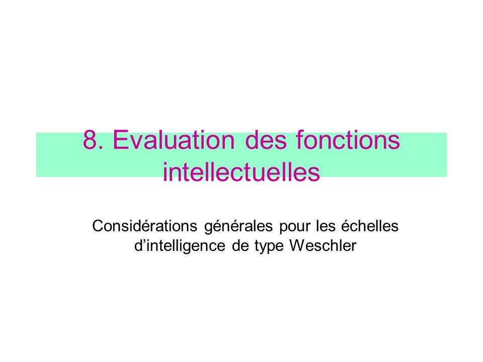 8. Evaluation des fonctions intellectuelles Considérations générales pour les échelles dintelligence de type Weschler