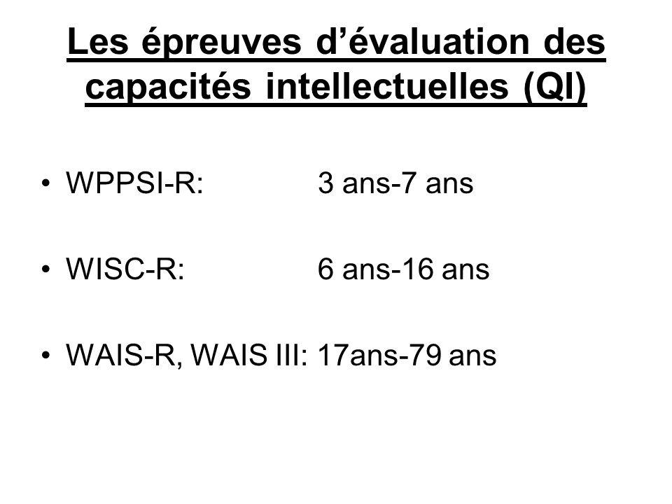 WPPSI-R: 3 ans-7 ans WISC-R: 6 ans-16 ans WAIS-R, WAIS III: 17ans-79 ans Les épreuves dévaluation des capacités intellectuelles (QI)